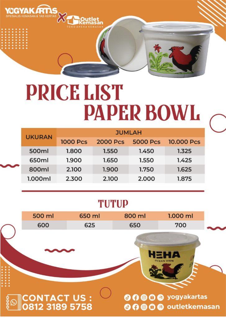 Harga Paper Bowl